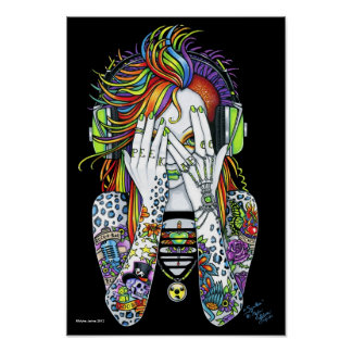 Synthea Psytrance Rainbow Peek A Boo Tattoo Poster