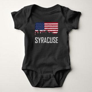 Syracuse New York Skyline American Flag Distressed Baby Bodysuit