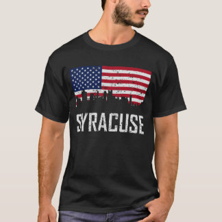 Syracuse New York Skyline American Flag Distressed T-Shirt