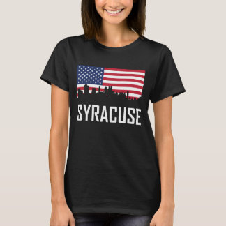 Syracuse New York Skyline American Flag T-Shirt