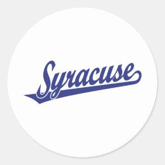 Syracuse script logo in blue classic round sticker