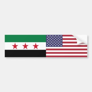 Syria and US Flag Sticker Bumper Sticker