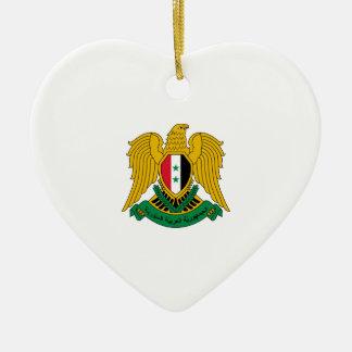 Syria Coat of Arms Ceramic Heart Ornament