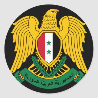 syria coat of arms round sticker