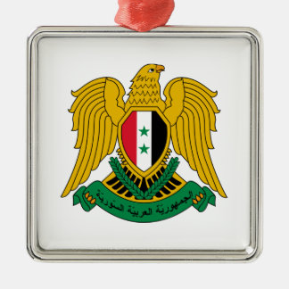 Syria Coat of Arms Silver-Colored Square Ornament