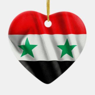 Syria Flag Ceramic Heart Ornament