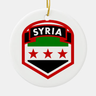 Syria Flag Crest Shield Ceramic Ornament