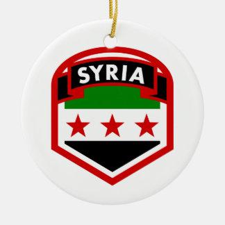 Syria Flag Crest Shield Round Ceramic Ornament