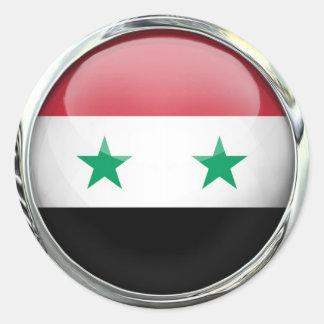 Syria Flag Glass Ball Classic Round Sticker