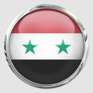 Syria Flag Glass Ball Round Sticker