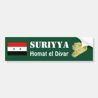 Syria Flag + Map Bumper Sticker