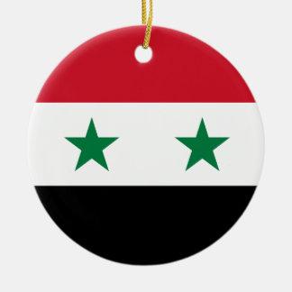 Syria Flag Round Ceramic Ornament