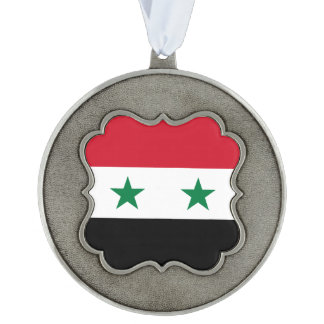 Syria Flag Scalloped Pewter Ornament