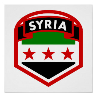 Syria Flag Shield Perfect Poster