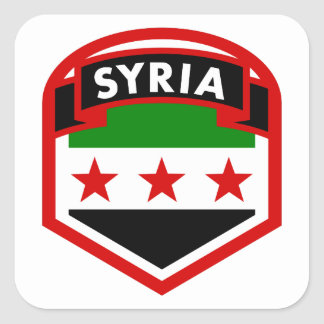 Syria Flag Shield Square Sticker