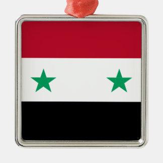 Syria flag Silver-Colored square ornament