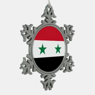 Syria Flag Snowflake Pewter Christmas Ornament