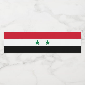 Syria Flag Water Bottle Label