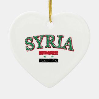 Syria football design ceramic heart ornament