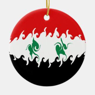 Syria Gnarly Flag Round Ceramic Ornament