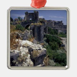 Syria, Marqab Castle, Crusaders castle located Silver-Colored Square Ornament