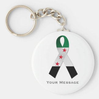Syria National Flag Awareness Ribbon Keychain