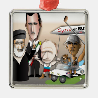 Syria or Bust Silver-Colored Square Ornament