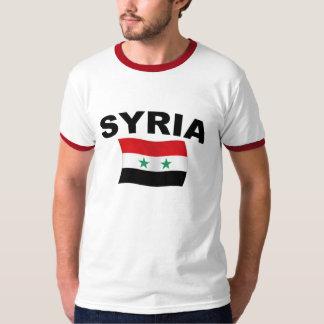 Syria Wavy Flag - Black Letters T-Shirt