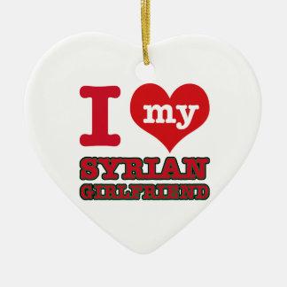 Syria wife ceramic heart ornament