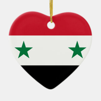 Syrian Arab Republic Flag - Flag of Syria Ceramic Heart Ornament