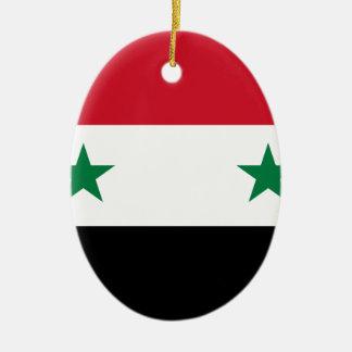 Syrian Arab Republic Flag - Flag of Syria Ceramic Oval Ornament