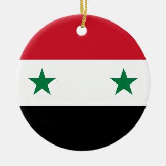 Syrian Arab Republic Flag - Flag of Syria Round Ceramic Ornament