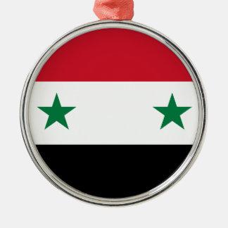 Syrian Arab Republic Flag - Flag of Syria Silver-Colored Round Ornament