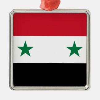Syrian Arab Republic Flag - Flag of Syria Silver-Colored Square Ornament