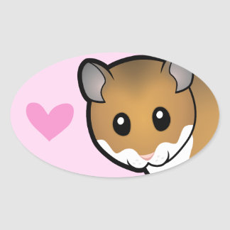 Syrian Hamster Love Oval Stickers