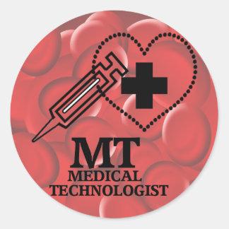 SYRINGE HEART LOGO FOR MT MEDICAL TECHNOLOGIST CLASSIC ROUND STICKER