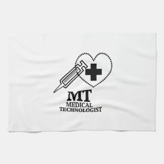 SYRINGE HEART LOGO FOR MT MEDICAL TECHNOLOGIST KITCHEN TOWEL