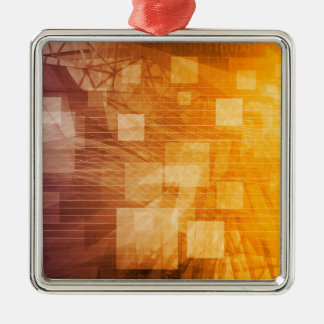 System Development Platform and Reporting Tool Silver-Colored Square Ornament