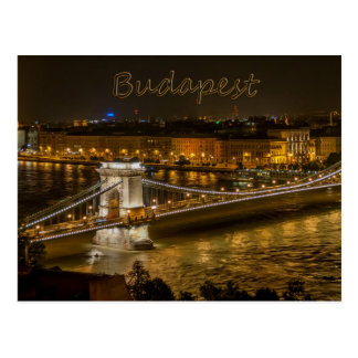 Szechenyi Chain Bridge, Budapest, Hungary Postcard
