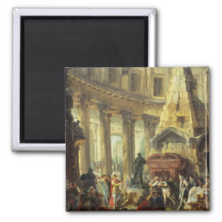 T28516 Alexander the Great visiting the Tomb of Ac Square Magnet