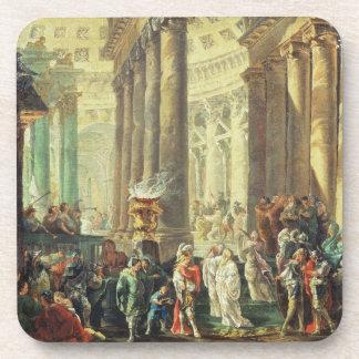T28517 Capriccio of a Roman temple with Alexander Beverage Coasters