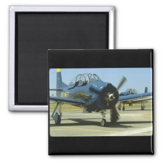 T28, Blue Frontal. (plane;t28_WWII Planes Square Magnet