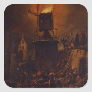 T30554A The Burning Windmill, 1662 (panel) Square Sticker