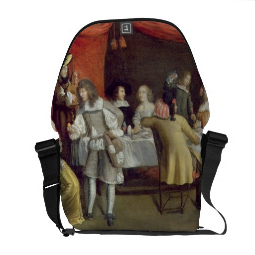 T30878 Elegant Company Dining Beneath a Red Canopy Courier Bag
