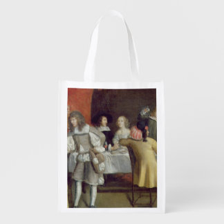 T30878 Elegant Company Dining Beneath a Red Canopy Grocery Bag