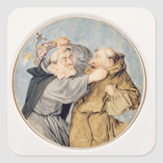 T31130 Two Monks Fighting, 1690 (w/c, ink, chalk) Square Sticker