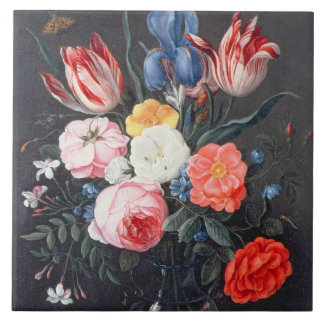T32511 Still Life of Flowers in a Vase, 1661 (see Ceramic Tile