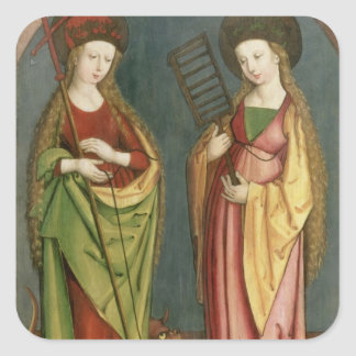 T32982 St. Margaret of Antioch and St. Faith, c.15 Square Sticker