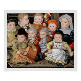 T33337 Portrait of a mother with her eight childre Poster