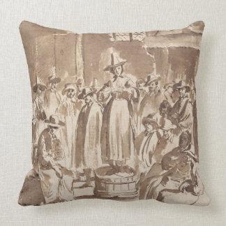 T34029 A Quaker Prayer Meeting (pen & ink on paper Throw Pillow